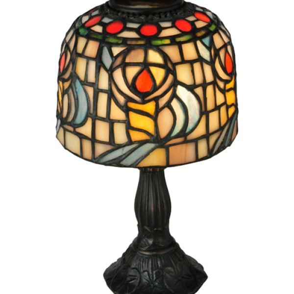 Colorful Rosebud Tiffany Stained Glass Candle Lamp