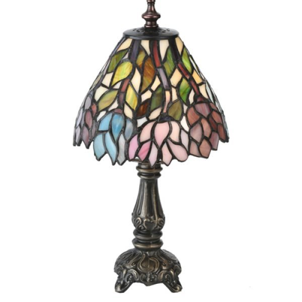 Wisteria Garden Tiffany Stained Glass Mini Lamp