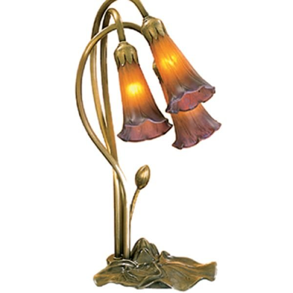 Lily Pad Amber Purple Tiffany Accent Lamp