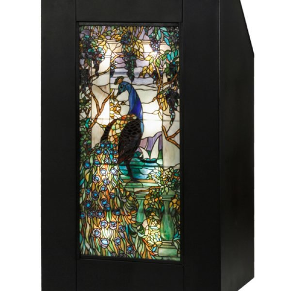Peacock Wisteria Tiffany Stained Glass Lighted Podium