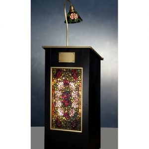 Rose Bush Tiffany Stained Glass Lighted Podium
