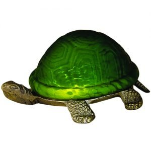 Turtle Bright Green Mottled Glass Accent Lamp