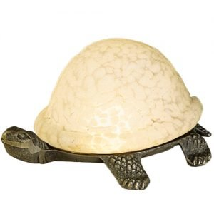 Turtle Winter White Mottled Glass Accent Lamp